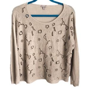 J. JILL floral cut out lightweight sweater MP
